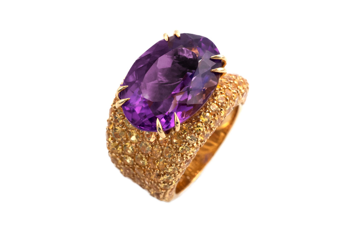 Ring Ameth Yellow Saphirs