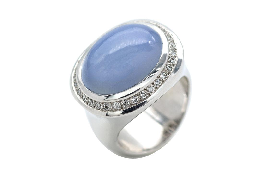 Ring Blue Chalcedoine