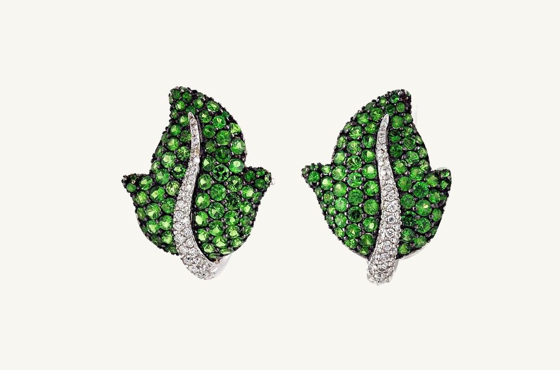 Leaf - Tsavorite & Diamonds
