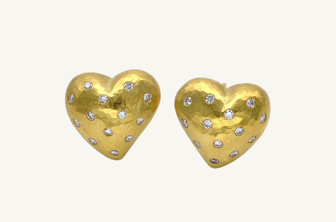 Puff Hearts - Hammered gold & Diamonds
