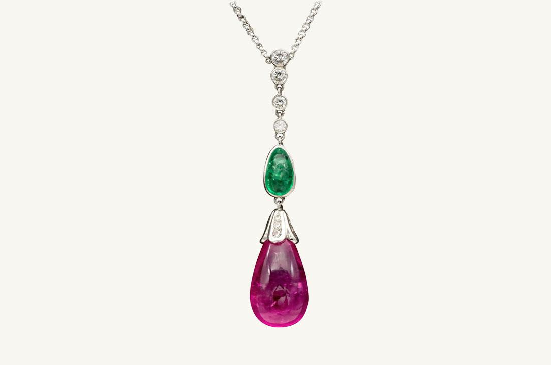 Drop - Rubelite, Emerald & diamonds