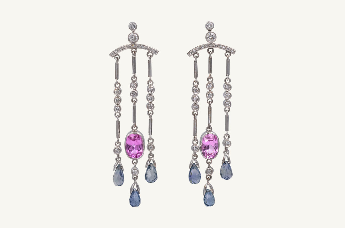 Briolette - Pink & blue Sapphires - Diamonds